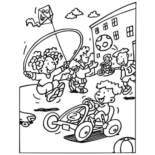 Coloriage et dessins gratuits Élèves pendant la récréation à L'école à imprimer