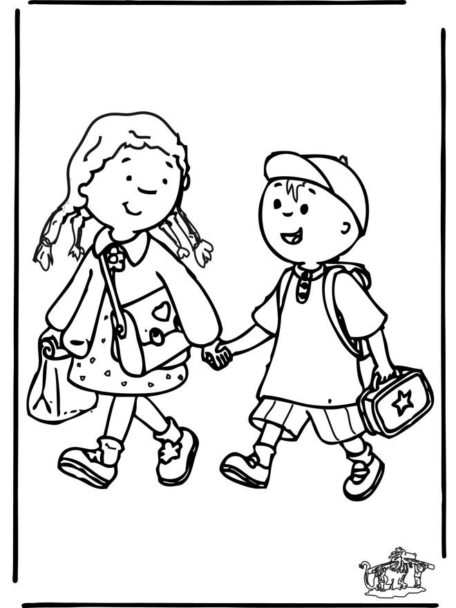 Coloriage et dessins gratuits Enfants en route pour École à imprimer