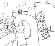 Coloriage et dessins gratuit Les toilettes à l'école à imprimer