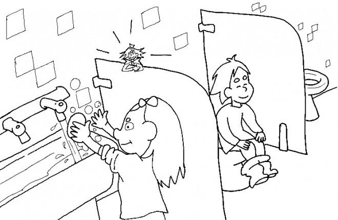Coloriage Les Toilettes A L Ecole Dessin Gratuit A Imprimer