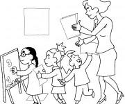 Coloriage et dessins gratuit Maîtresse et Élèves à l'école à imprimer