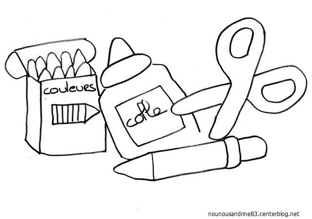 Coloriage mat riel scolaire maternelle dessin gratuit - Coloriage cartable maternelle ...