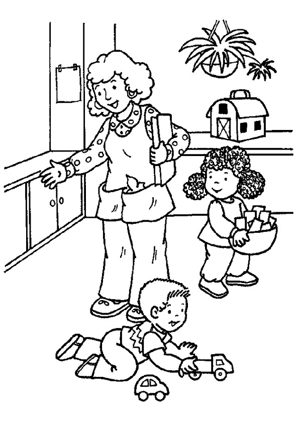 Coloriage et dessins gratuits Mère et ses petits  Maternelle à imprimer