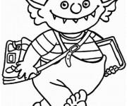 Coloriage Petit Ogre et La rentrée scolaire