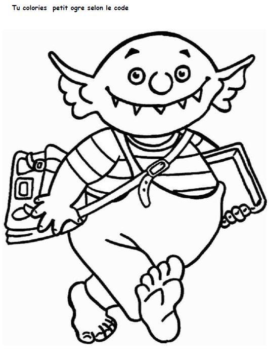 Coloriage et dessins gratuits Petit Ogre et La rentrée scolaire à imprimer