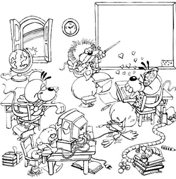 Coloriage et dessins gratuits Un Classe rigolo humoristique à imprimer