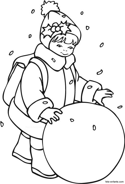 Coloriage enfant et la boule de neige dessin gratuit imprimer - Dessin de l hiver ...
