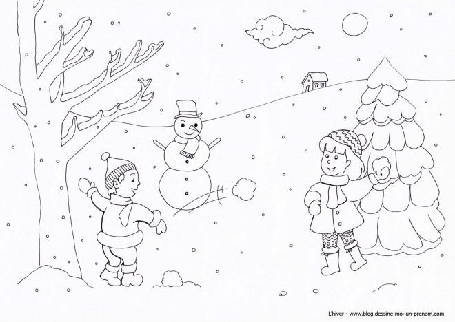 Coloriage enfants s 39 amusent avec la neige dessin gratuit imprimer - Dessin sur l hiver ...