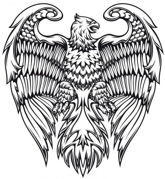 Coloriage et dessins gratuits Aigle Fantastique en noir et blanc à imprimer