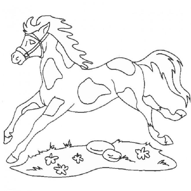 Coloriage et dessins gratuits Cheval Fantastique au galop à imprimer