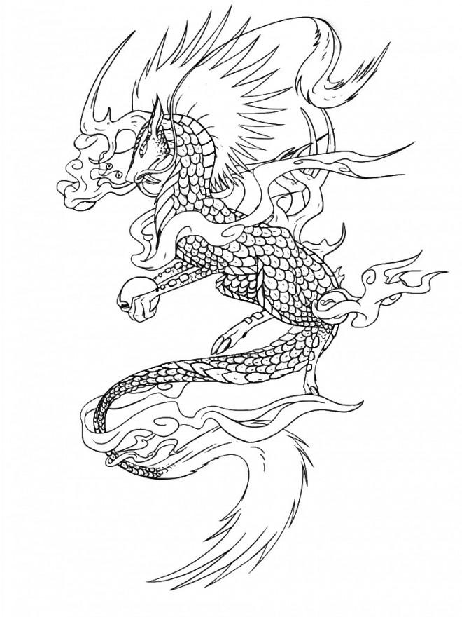Coloriage dragon chinois imaginaire dessin gratuit imprimer - Dessins dragons chinois ...