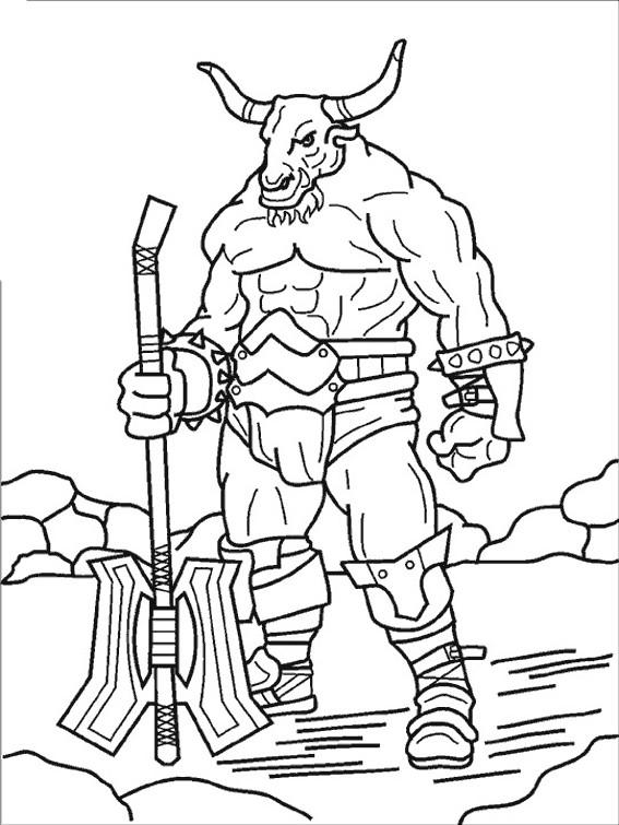 Coloriage et dessins gratuits Fantastique Géant avec le visage de taureau à imprimer