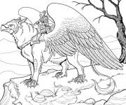 Coloriage Fantastique héro sur Aigle imaginaire