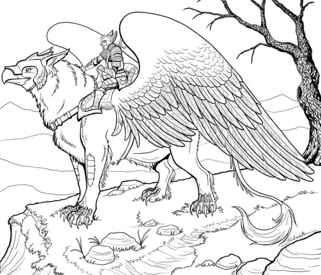 Coloriage et dessins gratuits Fantastique héro sur Aigle imaginaire à imprimer