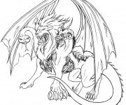 Coloriage et dessins gratuit Fantastique Monstre à trois têtes à imprimer