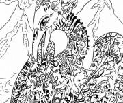 Coloriage et dessins gratuit Fantastique Paysage de Dragon à imprimer