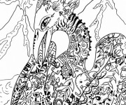 Coloriage Fantastique Paysage de Dragon