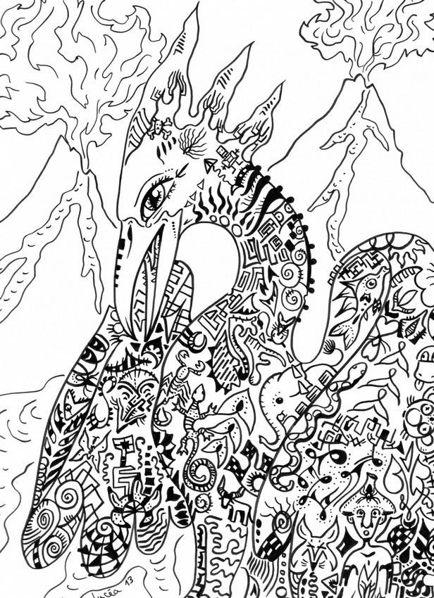 Coloriage et dessins gratuits Fantastique Paysage de Dragon à imprimer