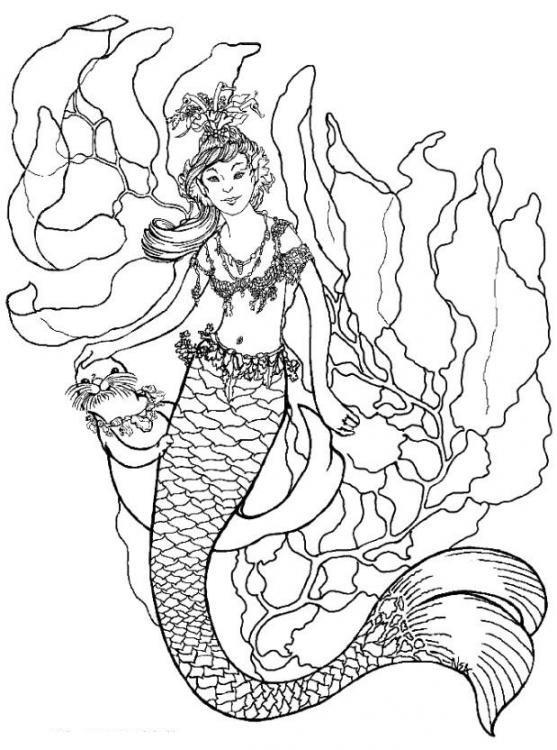 Coloriage et dessins gratuits Sirène de Mer imaginaire à imprimer