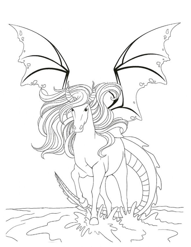Coloriage un cheval fantastique en couleur dessin gratuit - Dessins de chevaux a imprimer ...