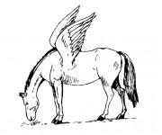 Coloriage Un Cheval imaginaire ayant des ailes