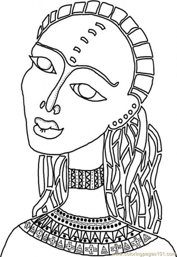 Coloriage et dessins gratuits Femme en Afrique stylisé à imprimer