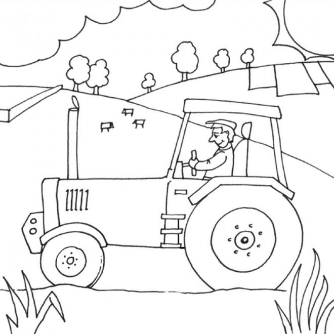 Coloriage et dessins gratuits Fermier dans son tracteur à imprimer