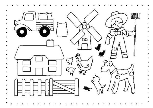 Coloriage et dessins gratuits Fermier et ses animaux de ferme à imprimer