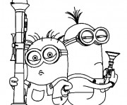 Coloriage Bob et Stuart tiennent leurs armes