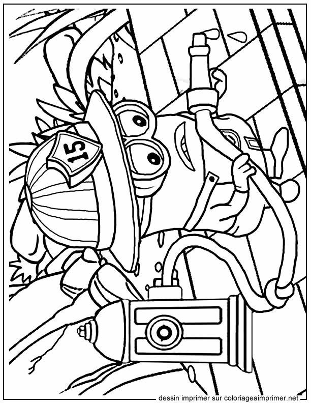 Coloriage et dessins gratuits Film Les Minions Bob le Pompier à imprimer