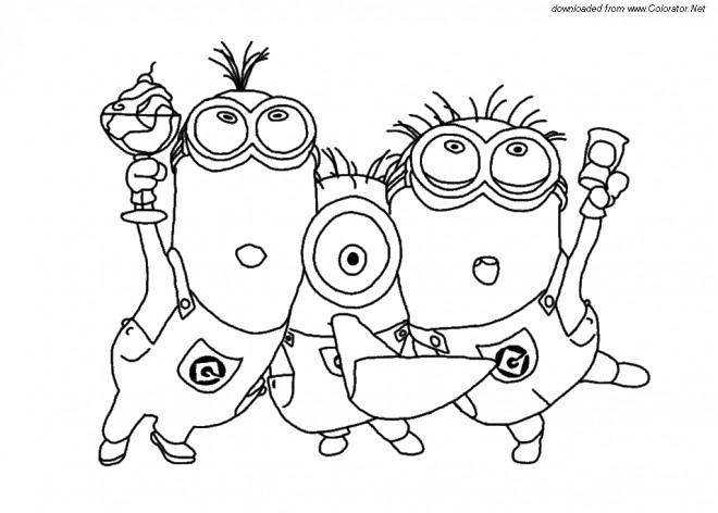 Coloriage et dessins gratuits Les Minions et La fête à imprimer