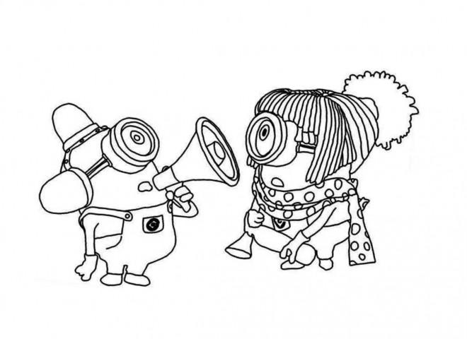 Coloriage et dessins gratuits Les Minions maternelle à imprimer