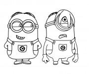 Coloriage Les Minions Stuart et Kevin