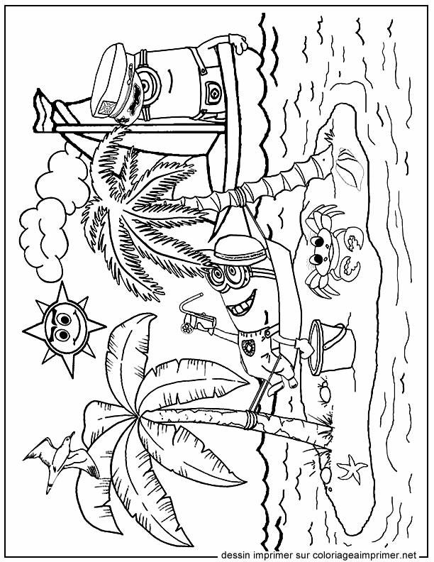 Coloriage et dessins gratuits Les Minions sur La plage à imprimer