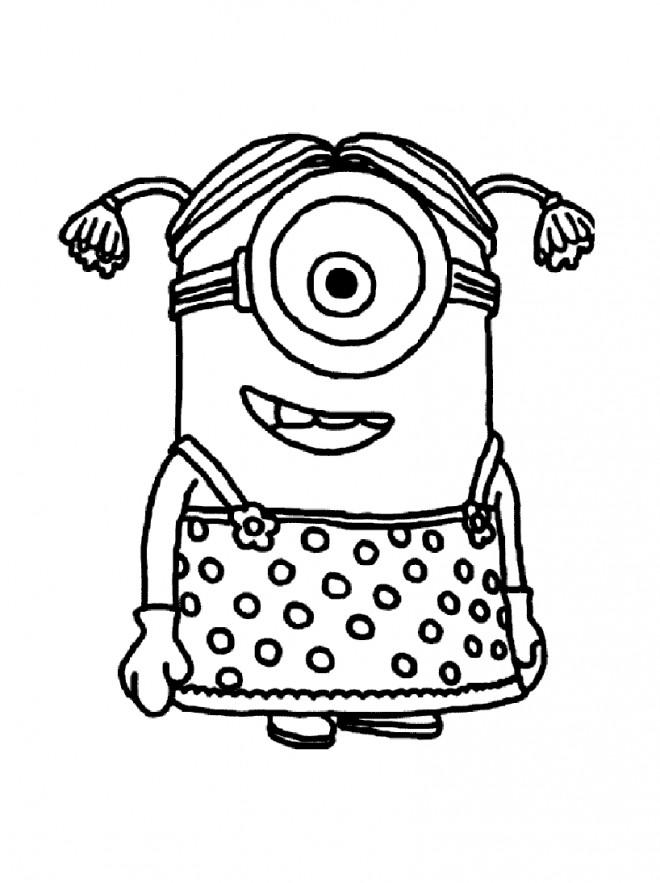 Coloriage Minion Fille dessin gratuit à imprimer