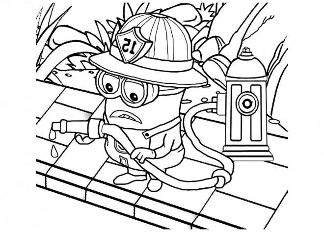 Coloriage Minion Pompier Dessin Gratuit à Imprimer