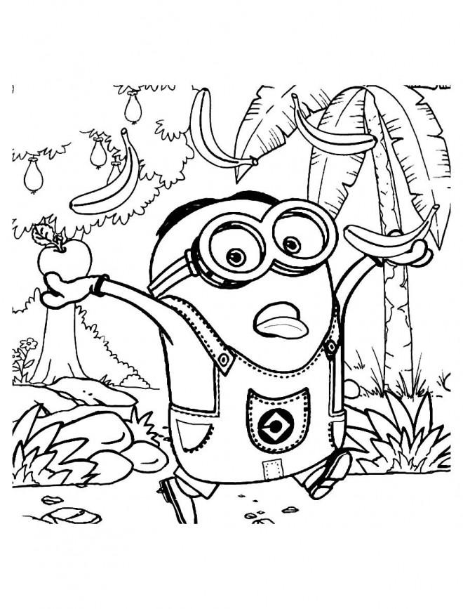 Coloriage Minion Stuart Dans La Foret Dessin Gratuit A Imprimer