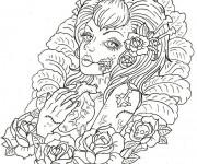 Coloriage et dessins gratuit Adulte Femme et Coeur Difficile à imprimer