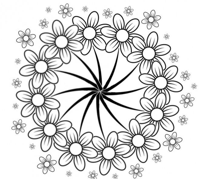 Coloriage et dessins gratuits Adulte fleurs à Cinq pétales à imprimer