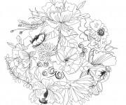 Coloriage Adulte Fleurs au crayon