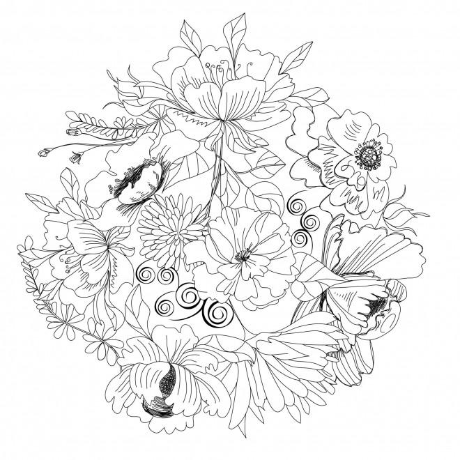 Coloriage et dessins gratuits Adulte Fleurs au crayon à imprimer