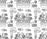Coloriage et dessins gratuit Adulte Fleurs au  Jardin à imprimer