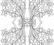 Coloriage et dessins gratuit Adulte Fleurs en bouquet à imprimer