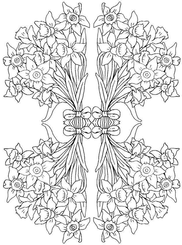 Coloriage et dessins gratuits Adulte Fleurs en bouquet à imprimer