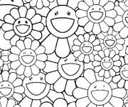 Coloriage et dessins gratuit Adulte Fleurs rigolotes à imprimer