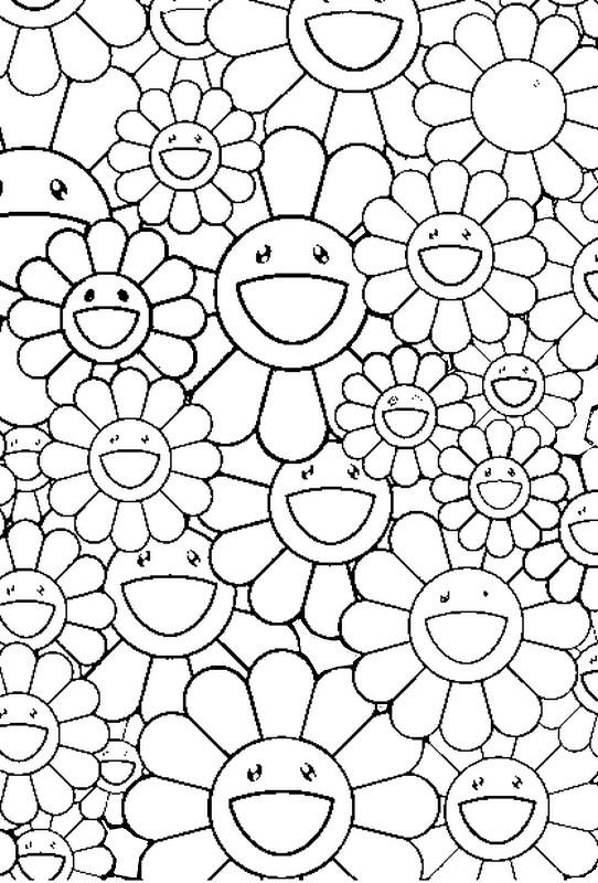 Coloriage et dessins gratuits Adulte Fleurs rigolotes à imprimer