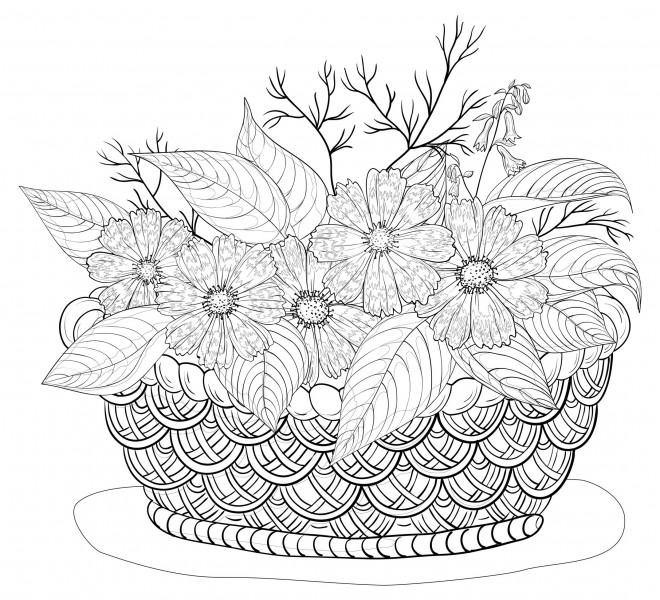 coloriage adulte panier de fleurs dessin gratuit imprimer. Black Bedroom Furniture Sets. Home Design Ideas