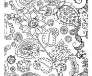 Coloriage et dessins gratuit Fleurs Adulte  décorés à imprimer