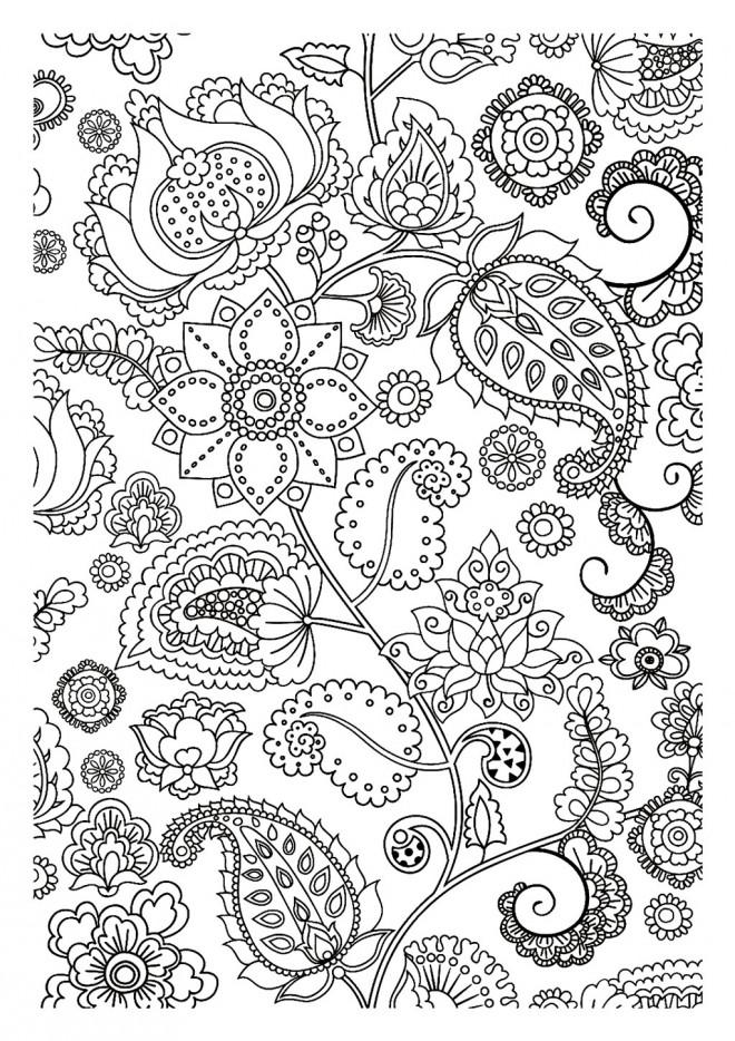 Coloriage et dessins gratuits Fleurs Adulte  décorés à imprimer