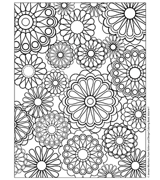 Coloriage Fleurs Difficile Stylisé Dessin Gratuit à Imprimer